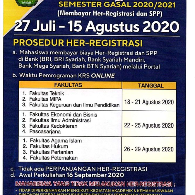 HER-REGISTRASI SEMESTER GANJIL 2020/2021