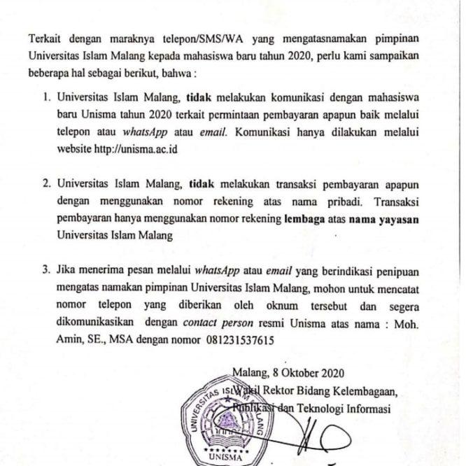 PEMBERITAHUAN UNTUK MAHASISWA BARU T.A 2020/2021