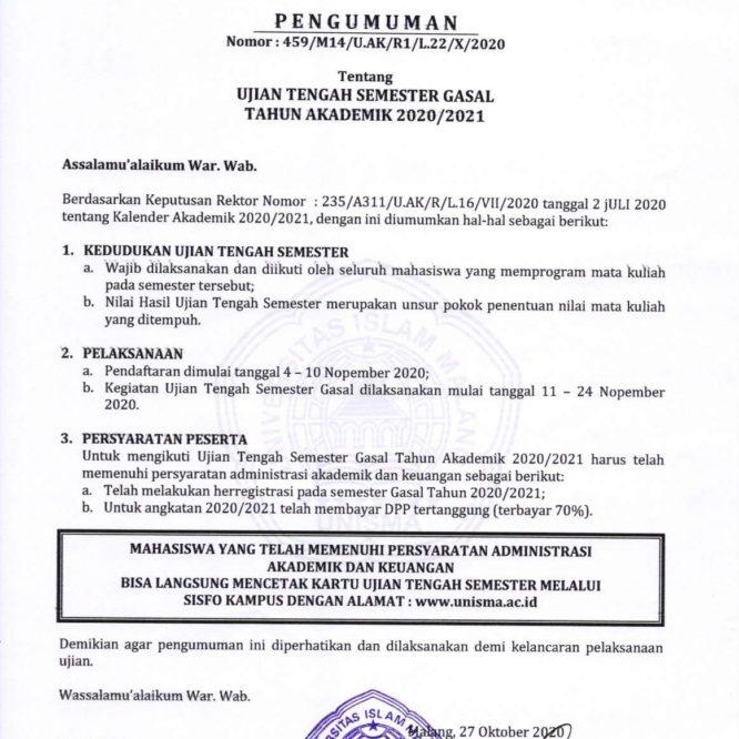 UJIAN TENGAH SEMESTER GASAL TAHUN AKADEMIK 2020/2021