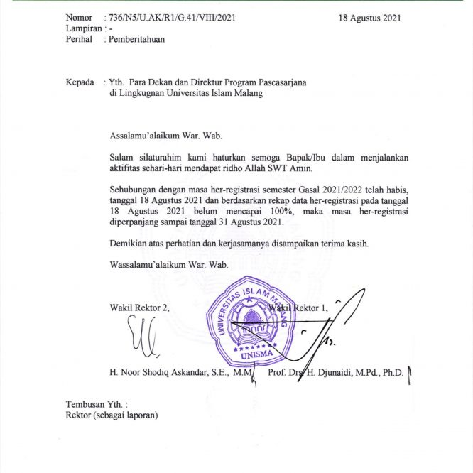 PERPANJANGAN HER-REGISTRASI SEMESTER GASAL 2021/2022
